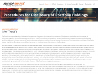 Procedures for Disclosure of Portfolio Holdings